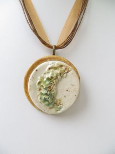 Organic Clay Pendant Earth Tones Green Abstract Rustic Ceramic Pottery Necklace on Etsy, R$45,58