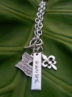 Hand Stamped Silver NOLA Necklace with Fleur by MetallicKreations, $10.00