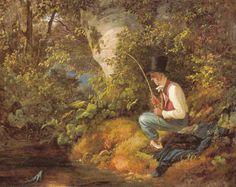 Der Angler Carl Spitzweg, Original Image, Figurative Art, Golden Age, Mythology, 19th Century, Cool Art, Contemporary Art, Folk