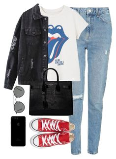 """""""Untitled #3669"""" by magsmccray ❤ liked on Polyvore featuring Topshop, MANGO, Yves Saint Laurent, Converse and Ray-Ban"""