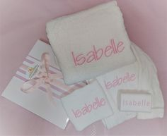 Personalised baby bath towel set, baby's name embroidered onto a soft micro fibre baby bath towel as well as a matching face cloth and baby bath robe even the bar of baby goats milk soap has been personalised with baby's name. Baby Gift Hampers, Baby Hamper, Keepsake Baby Gifts, Baby Gift Box, New Baby Girl Names, New Baby Girls, Newborn Baby Girl Gifts, Bath Girls, Baby Goats