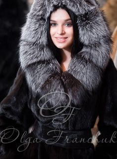 Black Scandinavian Mink Coat with a Hood of Silverfox - Style 01-6 from Olga Franchuk ($2000) .