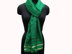 Green scarf/ fashion scarf/ hand woven scarf/ handloom scarf/ plain scarf/ long scarf/ cotton scarf/ gift scarf / gift ideas.