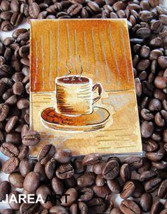 Original Coffee Painting in Magnetic Frame  Painted by jareaart, $12.00