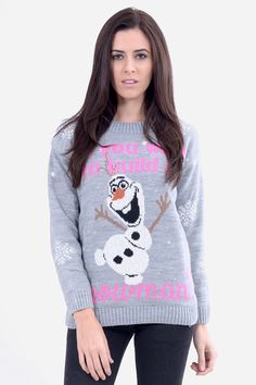"""Olaf says """"do you want to build a snowman"""" Christmas jumper in grey"""