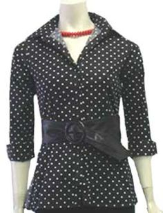 Voice Black Top with Polka Dots Nwot