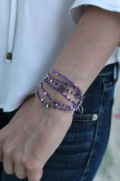 Follow me on Pinterest! Delicate purple wrap bracelet beaded crochet  This handmade wrap bracelet is extremely soft, comfortable to wear, lightweight and delicate, you can barely feel it on your wrist. It is made with soft cotton string, multiple seed beads, and silver flowers. It is a one of a kind piece.