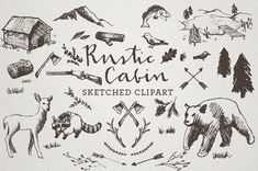 Rustic Cabin Clipart  Sketched Clip Art by LemonadePixel on Etsy, $4.95