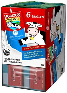 Horizon Organic Dairy Single Serve 1 Milk 8 oz 6 Count >>> Continue to the product at the image link. 1 Milk, Milk Box, Lactose Free Milk, Best Amazon Products, Omega 3, Cream Recipes, Program Design, Cows