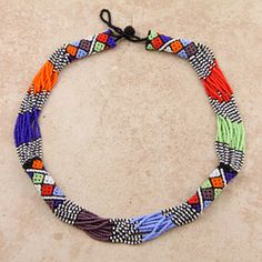 Glass Bead Multicolor African Zulu Rope Necklace (South Africa)