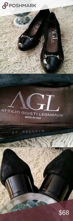 AGL- Attilio Giusti Leombruni Shoes Lovely Attilio Giusti Leombruni shoes. Size 38 (8). Black with silver metallic, patent leather cap toe and heel. So comfortable and perfect for dressing up any outfit! Great condition, (Please see last picture for front of shoe. Patent leather is in good condition, very minimal wear on sole, not even noticeable). Attilio Giusti Leombruni Shoes