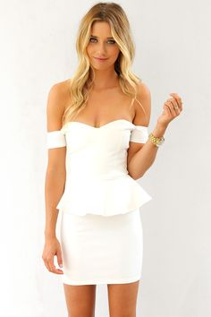 White Off the Shoulder Bodycon Dress with Peplum Waist
