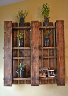 Cool idea...a stained wooden pallet with a few boards removed.