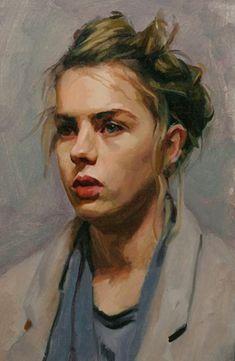 """Lotti"" - Louis Smith, oil on canvas {blonde female head woman face portrait cropped painting} louissmithart.com"