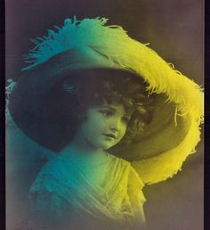 Edwardian Pretty Child Girl huge HAT Glamour. Old R.Photo postcard FANTASY 1910s