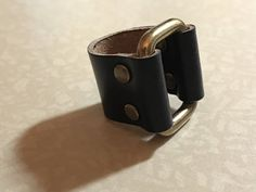 Black Leather Buckle Ring Size 9 1/2 - ALL PROFITS donated to the ACLU by Fullofcraft on Etsy