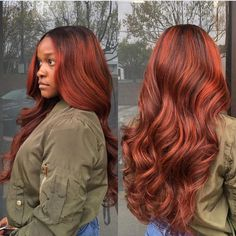 Pink-Red with Yellow Highlights - 20 Cool Styles with Bright Red Hair Color (Updated for - The Trending Hairstyle Hair Color Auburn, Auburn Hair, Hair Color For Black Hair, Red Orange Hair, Auburn Red, Red Weave Hairstyles, Teen Hairstyles, Casual Hairstyles, Medium Hairstyles