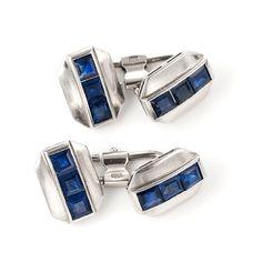 Sapphire and Platinum Cufflinks ca1925. $9,200