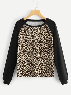 SHEIN offers Contrast Panel Leopard Sweatshirt & more to fit your fashionable needs. Funny Sweatshirts, Sweatshirts Online, Cool Hoodies, Fashion News, Fashion Outfits, Womens Fashion, Xl Mode, Leopard Print Outfits, Looks Black