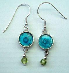 Silver earrings with Roman glass | sterling silver earrings | dangling delicate jewel woman girls