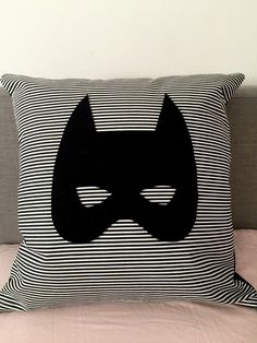 Batmask Stripe Black and White Kids Cushion with Wool by CactusCo