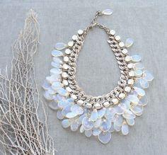 Splendid Bride- Moonstone and Crystal Necklace, Bracelet and Earrings Bridal Set