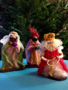 Tres Reyes Magos Reyes Magos aguja de fieltro conjunto