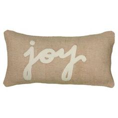 "Jute pillow with a felted typographic motif.   Product: PillowConstruction Material: Jute and feltColor: Beige and whiteFeatures: Insert includedDimensions: 11"" x 21""Cleaning and Care: Spot clean only"