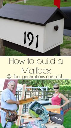 How to make a mailbox {tutorial} in a weekend afternoon by a father and daughter duo. Dewey Generations One Roof.I could have used this a month ago when I had to install a new mailbox. Wooden Mailbox, Diy Mailbox, Mailbox Post, Wooden Diy, Mailbox Ideas, Santa Mailbox, Outdoor Projects, Home Projects, Outdoor Crafts