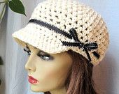 SALE Womens Hat, Adult Newsboy, Off White, Natural, Cancer hat, Black Ribbon, Gifts for Her, Birthday Gifts, JE144NR2