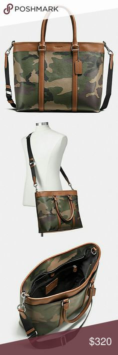 e06f976630 Mens Coach Camo Business Tote Weekender Nwt. Cross posted