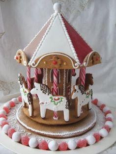 gingerbread carousel- yet more novel cake decorating ideas Gingerbread Village, Christmas Gingerbread House, Noel Christmas, Christmas Goodies, Gingerbread Man, Christmas Desserts, Holiday Treats, Christmas Treats, Gingerbread Cookies