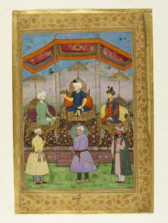 Timur (1336–1405), the Central Asian ruler from whom the Mughals were descended, sits in the centre of this allegorical painting handing the imperial crown to the founder of the Mughal dynasty, Babur (r.1526–1530), who is seated to his right. On his left is Babur's son Humayun, the second Mughal emperor (r.1530–1540 and 1544–1545)  ca. 1630 V&A