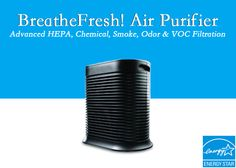 To live pure, you have to BreatheFresh! CuZn's BreatheFresh! Air Purifier combines HEPA filtration for removal of Bacteria, Dust, Allergens and other particulate with their patented technology to tackle chemicals, smoke, volatile organic compounds & 100% of odors