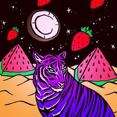working on something fun and weird... #tiger #coconut #moon #watermelon…