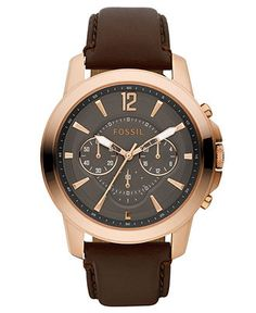 Fossil Watch, Men's Chronograph Grant Brown Leather Strap 44mm FS4648