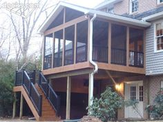 I like the idea of a screened in porch rather then a deck so laina won't fall off.