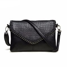 Cheap Shoulder Bags, Buy Directly from China Suppliers:Fashion Small Bag Women Messenger Bags Soft PU Leather Handbags Crossbody Bag For Women Clutches Bolsas Femininas Dollar Price Black Leather Handbags, Leather Purses, Pu Leather, Leather Fashion, Vegan Leather, Leather Chain, Crocodile, Bag Women, Mode Vintage