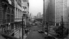 Sao Paulo, central area in the early 50´s. View from Dr. Falcao Filho Street and Bandeira Square.