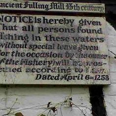 Sign on Fulling Mill, New Alresford, Hampshire, UK.