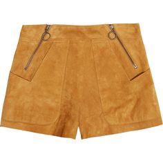 Chloé Suede shorts ($1,630) ❤ liked on Polyvore featuring shorts, bottoms, chloe, suede, suede shorts, retro shorts, chloe shorts and zipper shorts