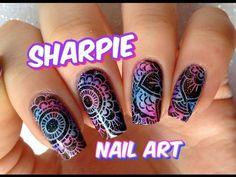 Sharpie nail art/ Uñas con marcadores nail art - YouTube Sharpie Nail Art, Nail Tutorials, Cool Nail Art, Class Ring, Nail Designs, Sharpies, Youtube, Stamping, Flower