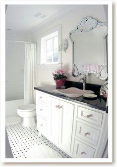 pink white black bathroom
