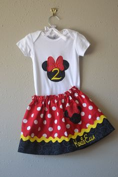 Disney top skirt Minnie Mouse birthday outfit Minnie skirt with Minnie t shirt Minnie mouse Birthday party by boogerbearpunkinpooh