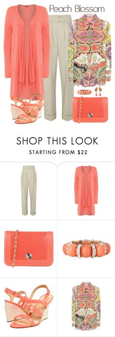 """""""Etro Peach Print Blouse Look"""" by romaboots-1 ❤ liked on Polyvore featuring Marc Jacobs, WearAll, Fiorangelo, LOFT, Kate Spade, Etro and plus size clothing"""