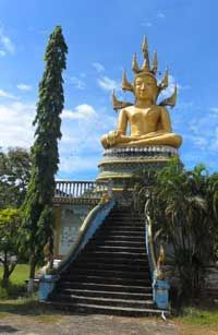 Khong Island, Laos, the Buddha takes care of the island in the Mekong.
