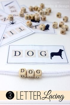 Build words and improve fine motor control. Free printable with 10 simple words a child can build using a pipe cleaner and alphabet beads.