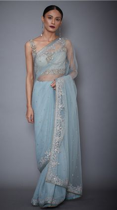 Buy Indian Designer Powder Blue Net Saree With Stitched Blouse Online Net Saree Designs, Saree Blouse Designs, Churidar Designs, Desi Wedding, Saree Wedding, Wedding Dresses, Prom Dresses, Wedding Ideas, Designer Sarees Collection