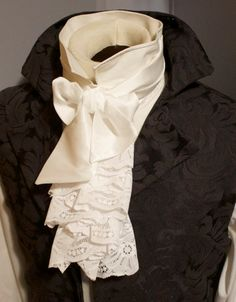 Fancy Historic Victorian White JABOT - Lace self tie Regency Ascot Cravat Necktie