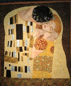 "A quilt of ""The Kiss"" by Gustav Klimt, made by Mary Mary Barry"